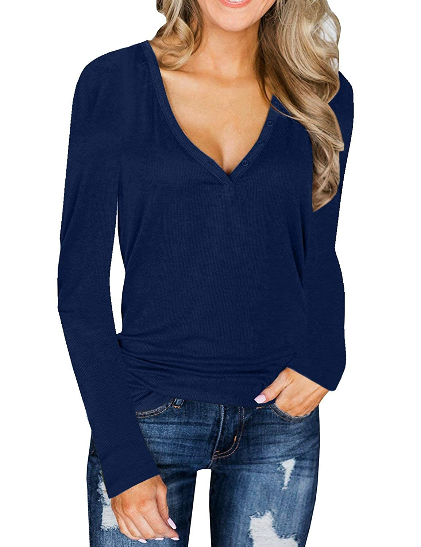 1f616d58 Amazon.com: Women's V Neck T-Shirt Tunic Tops Long Sleeve Henley Shirts  (Patent Pending): Clothing