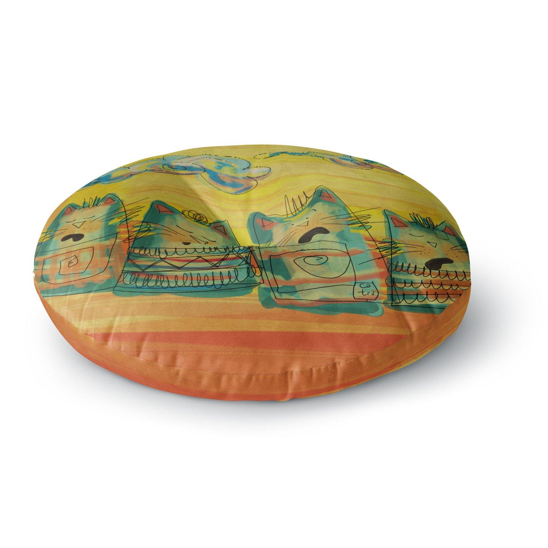 Kess InHouse Carina Povarchik Singing Cats Yellow Orange Round Floor Pillow 26