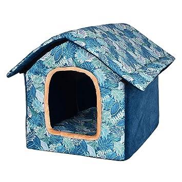 Freahap Casa para Mascota Perrera Al Aire Libre Interior Techo Desmontable Resistentes al Agua Impresión Perro Gato Casa Cama S Azul: Amazon.es: Productos ...