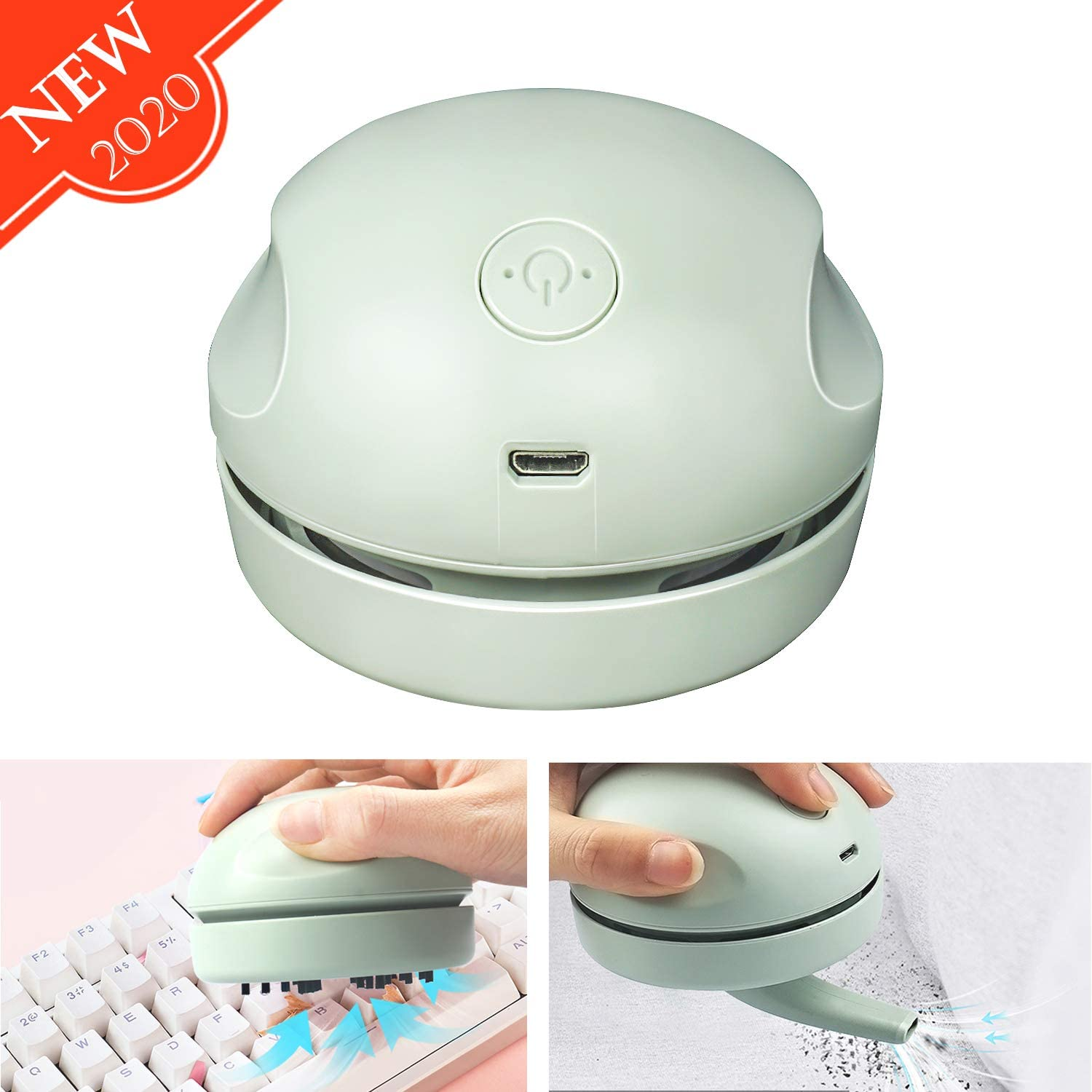Desktop Vacuum Cleaner with Clean Brush Vacuum Nozzle, High Efficiency Detachable Mini Vacuum Cleaner USB Charging, No Dead Angle Cleaning, Best for Cleaning Dust/Crumbs/Computer Keyboard