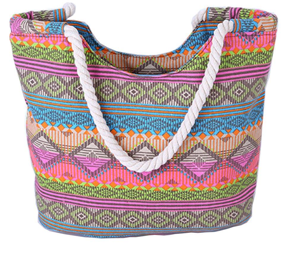 Pulama Womens Large Beach Tote Canvas Shoulder Bag Wave Striped Anchor Summer Handbag Top Handle Bag Straw Beach Bag (Boho Figure)