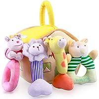 iPlay, iLearn 4 Plush Baby Soft Rattle Toys, Hand Grab Sensory Shaker, Farm Stuffed Animal Set, Infant Easter Basket…