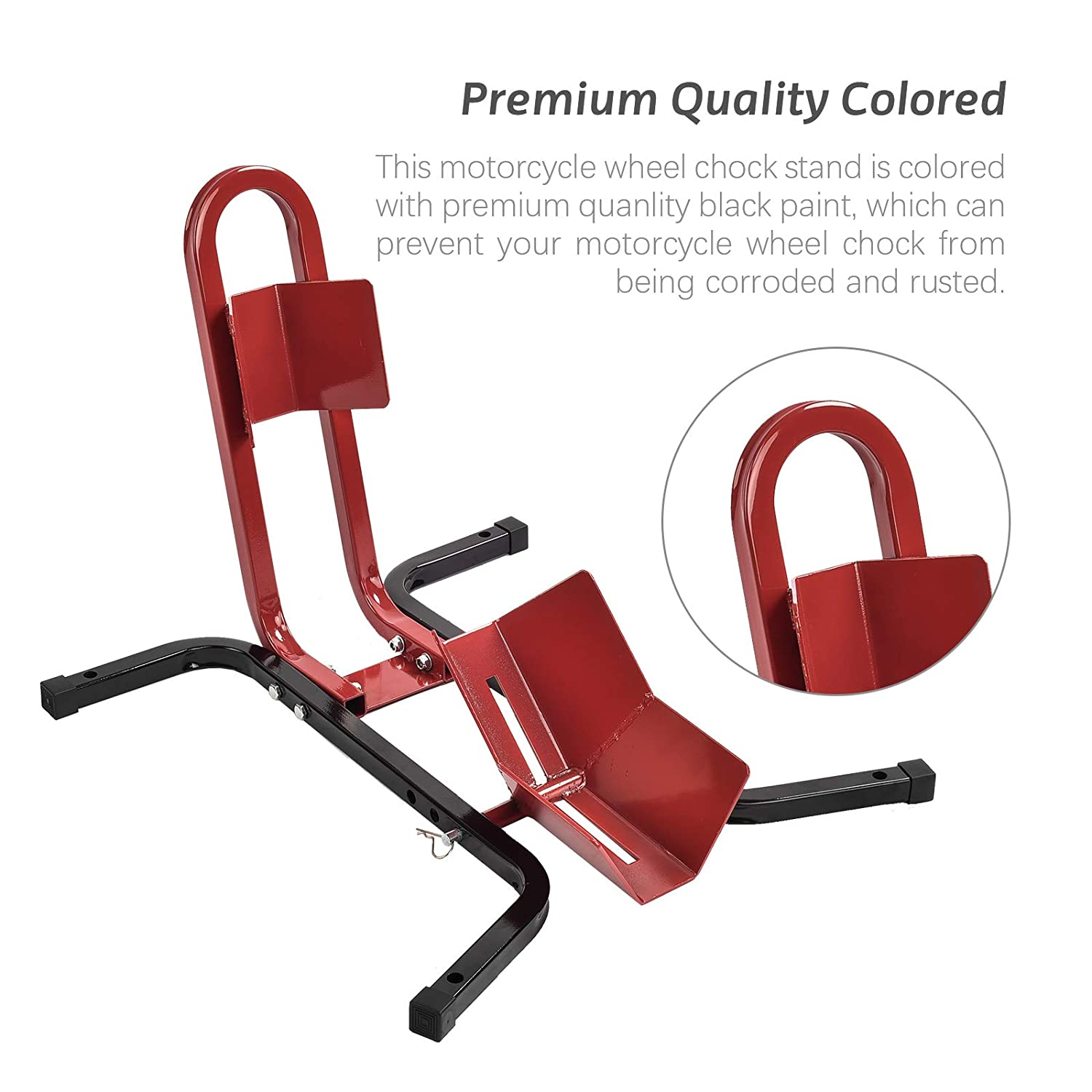 Tammible Motorcycles Wheel Chock Locking Stand System Steel Adjustable Fixing Tyre Holder Support Red/&Black