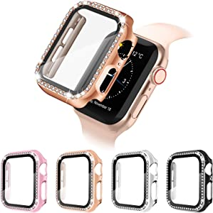 4 Pack Apple Watch Case with HD Tempered Glass Screen Protector for iWatch Series 6/5/4/3/2/1/SE, Full Cover Bling Diamond Crystal Rhinestone Protective Case (Black/Silver/Rose Gold/Rose Pink, 44mm)