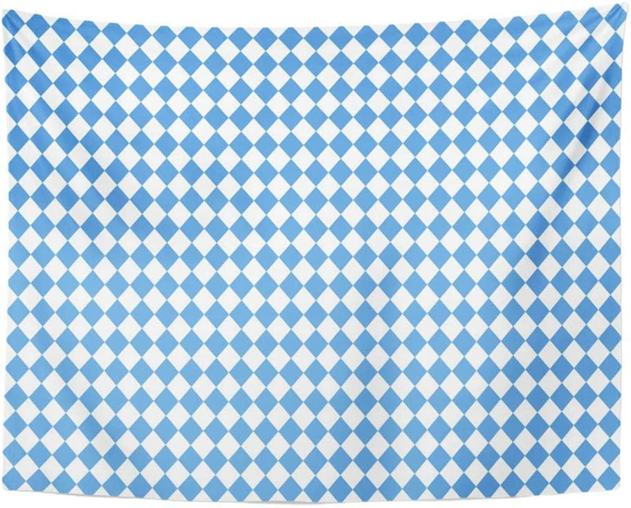 SPXUBZ Wall Tapestry Bavaria Blue White Checkered Oktoberfest Bavarian Beer Celebrate Color Wall Hanging Decoration Soft Fabric Tapestry Perfect Print for House Rooms