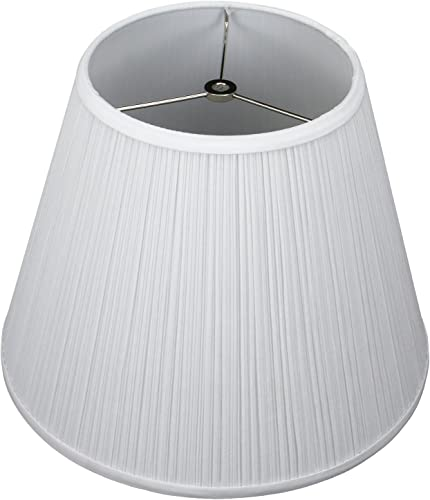 FenchelShades.com Lampshade 8 Top Diameter x 14 Bottom Diameter x 11 Slant Height with Washer Spider Attachment for Lamps with a Harp Pleated White