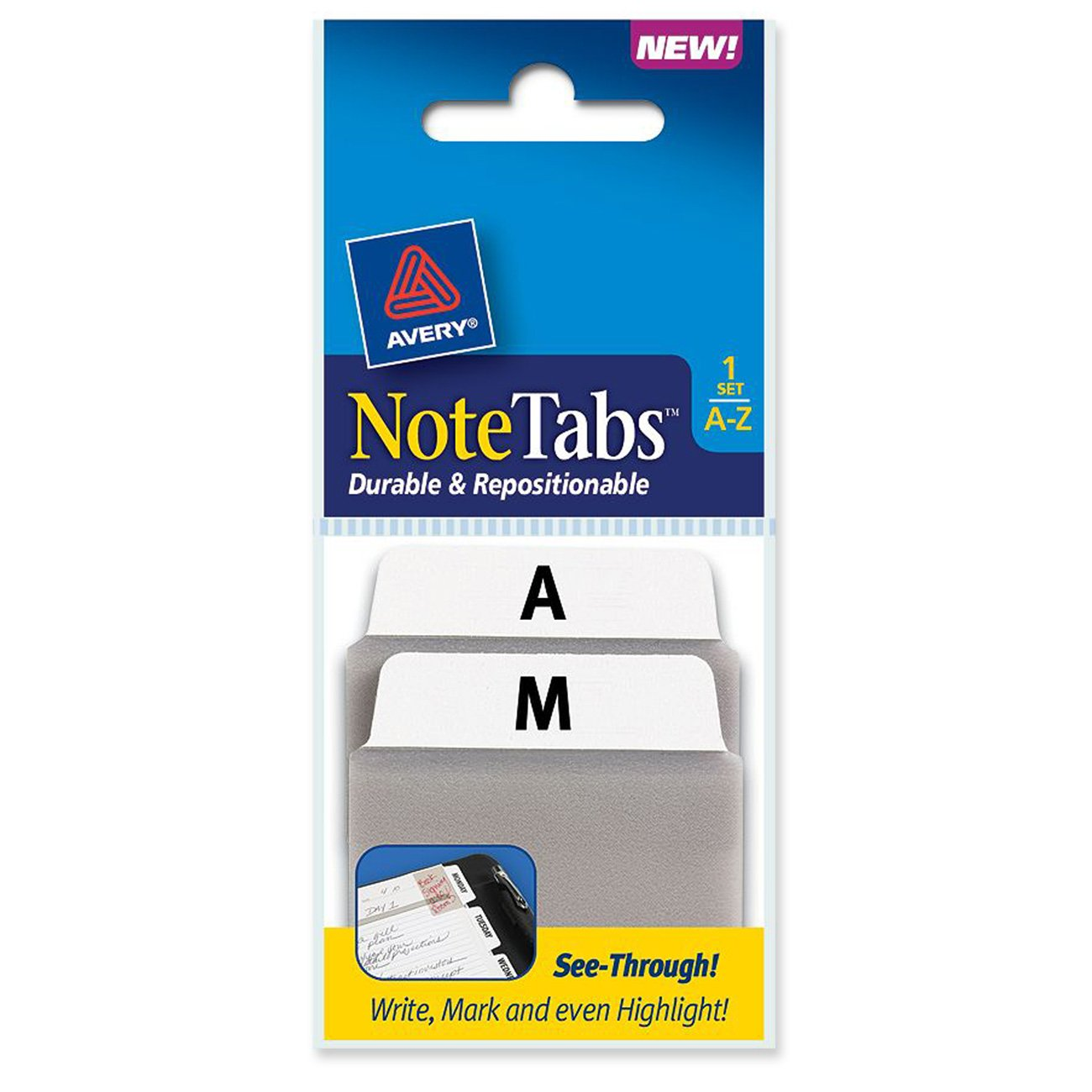 Avery NoteTabs, 2 x 1.5 Inches, Alphabet, 1 Set of 24 (16303)