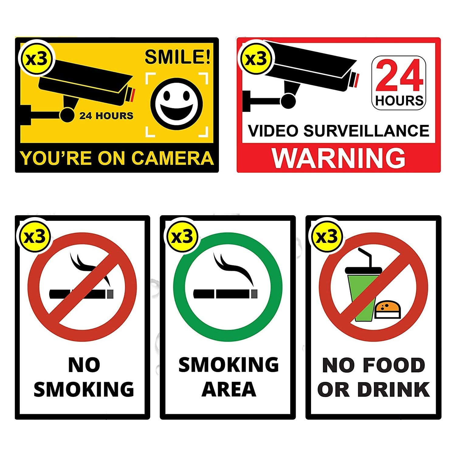 24h Video Surveillance - Smile You're on Camera - No Smoking - Smoking Area - No Food or Drink Rectangular Window Security Stickers | Anti Damage Sun or Storm (Each x3 Pack)