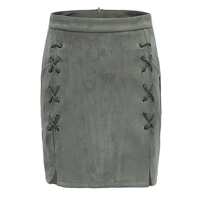 b6510180a ESAILQ Skirts, Women Bandage Suede Fabric Slim Seamless Stretch Tight Skirt:  Amazon.co.uk: Clothing