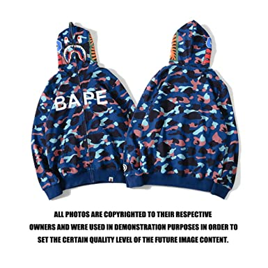 0961b3b4 Amazon.com: cosshow A Bathing Ape Camo Bape Zip Shark Head Camouflage  Hoodie Coat Long Sleeve Jacket: Clothing