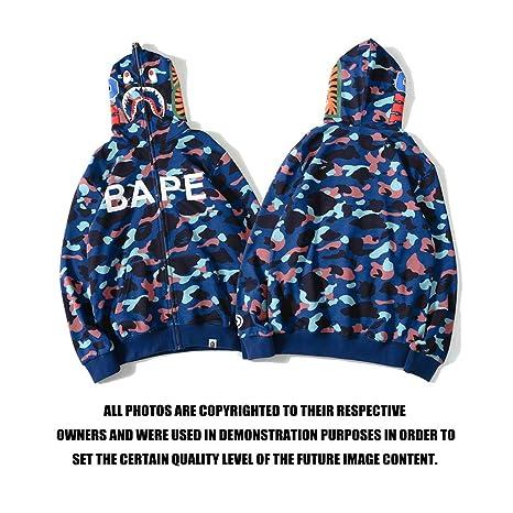 8e9254164a91 Amazon.com  cosshow A Bathing Ape Camo Bape Zip Shark Head Camouflage  Hoodie Coat Long Sleeve Jacket  Clothing