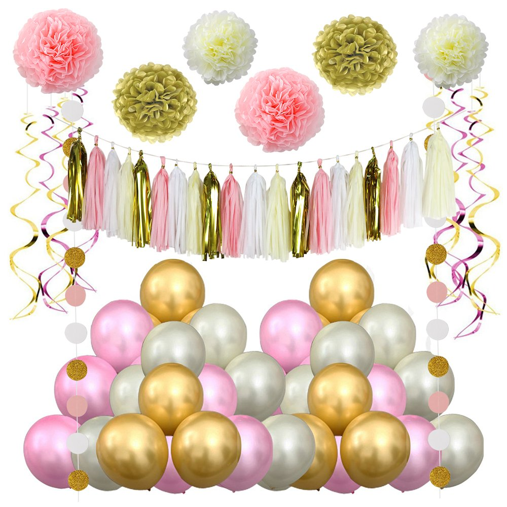 LITAUS Pink and Gold Birthday Decorations, Pom Poms Flowers Kit, Paper Garland,Hanging Swirl for 1st Birthday Girl Decorations Kids Birthday
