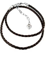 Double Wrap Braided Leather Bracelet for Large Hole Bead Charms - Brown - by A-Ha