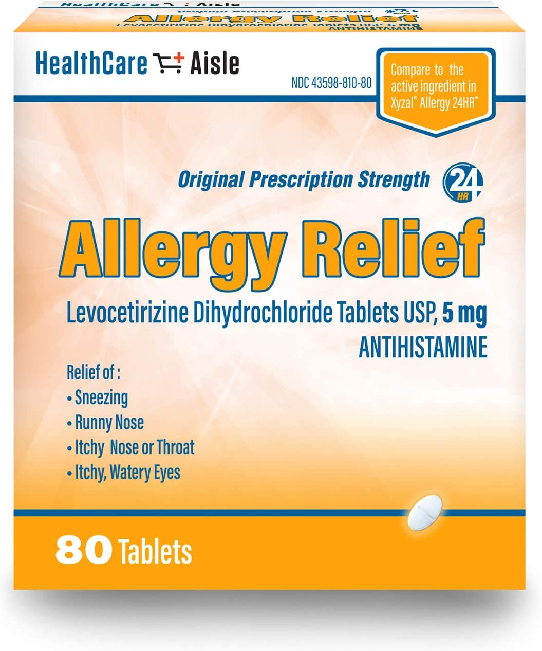 HealthCareAisle Allergy Relief Levocetirizine Dihydrochloride Tablets, USP | 24 Hour Allergy Relief | 5 mg | 80 Count: Health & Personal Care