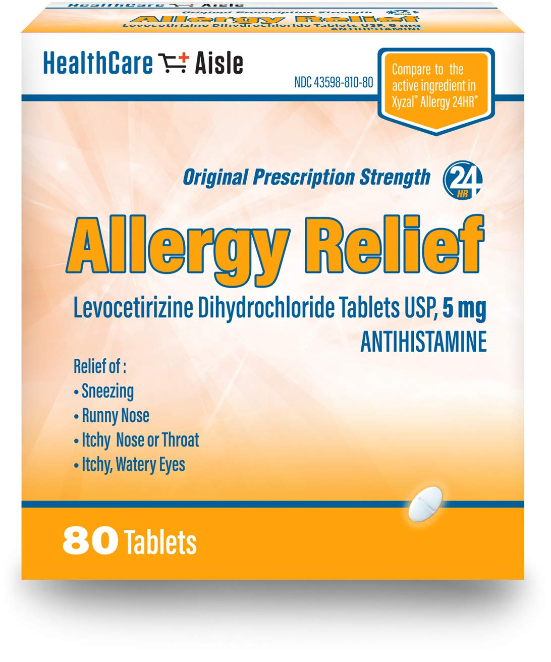 HealthCareAisle Allergy Relief Levocetirizine Dihydrochloride Tablets, USP | 24 Hour Allergy Relief | 5 mg | 80 Count by HealthCareAisle
