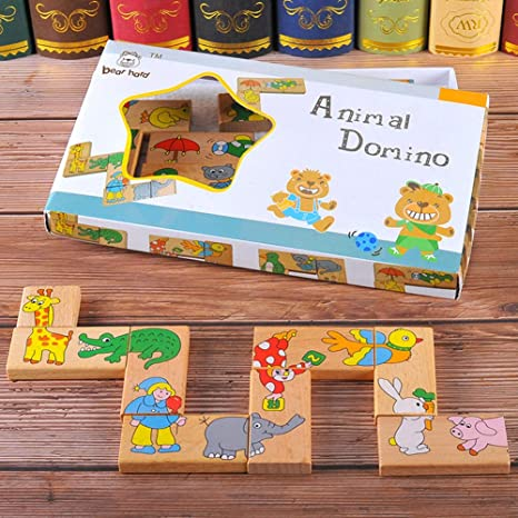 Holz Muster Blöcke Tiere   STEM Spielzeug Spiele für Kleinkinder
