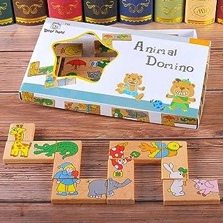 Honey MoMo Puzzle e Magic Cubes, 15pcs / Set Legno Animale Domino Puzzle per Bambini Gioco di Puzzle per Bambini Giocattolo educativo per Bambini e Ragazzi Ragazzi e Ragazze