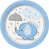 Unique Party - 41694 - Paquet de 8 Assiettes en Carton - Baby Shower Éléphant - Bleu - 18 cm