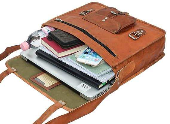 "Gusti Cuir nature ""Nick""cartable en cuir sac notebook sac bandoulière sac porté épaule sacoche business homme femme cuir de chèvre marron U16n-1 H4ptSkQ"
