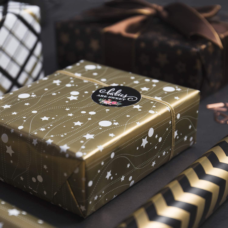 RUSPEPA Weihnachtsgeschenk Geschenkpapier-Rot Und Wei/ß Papier Mit Einem Metallfolienglanz-Weihnachtselemente Collection-4 Rolle-76CM X 305CM Pro Rolle