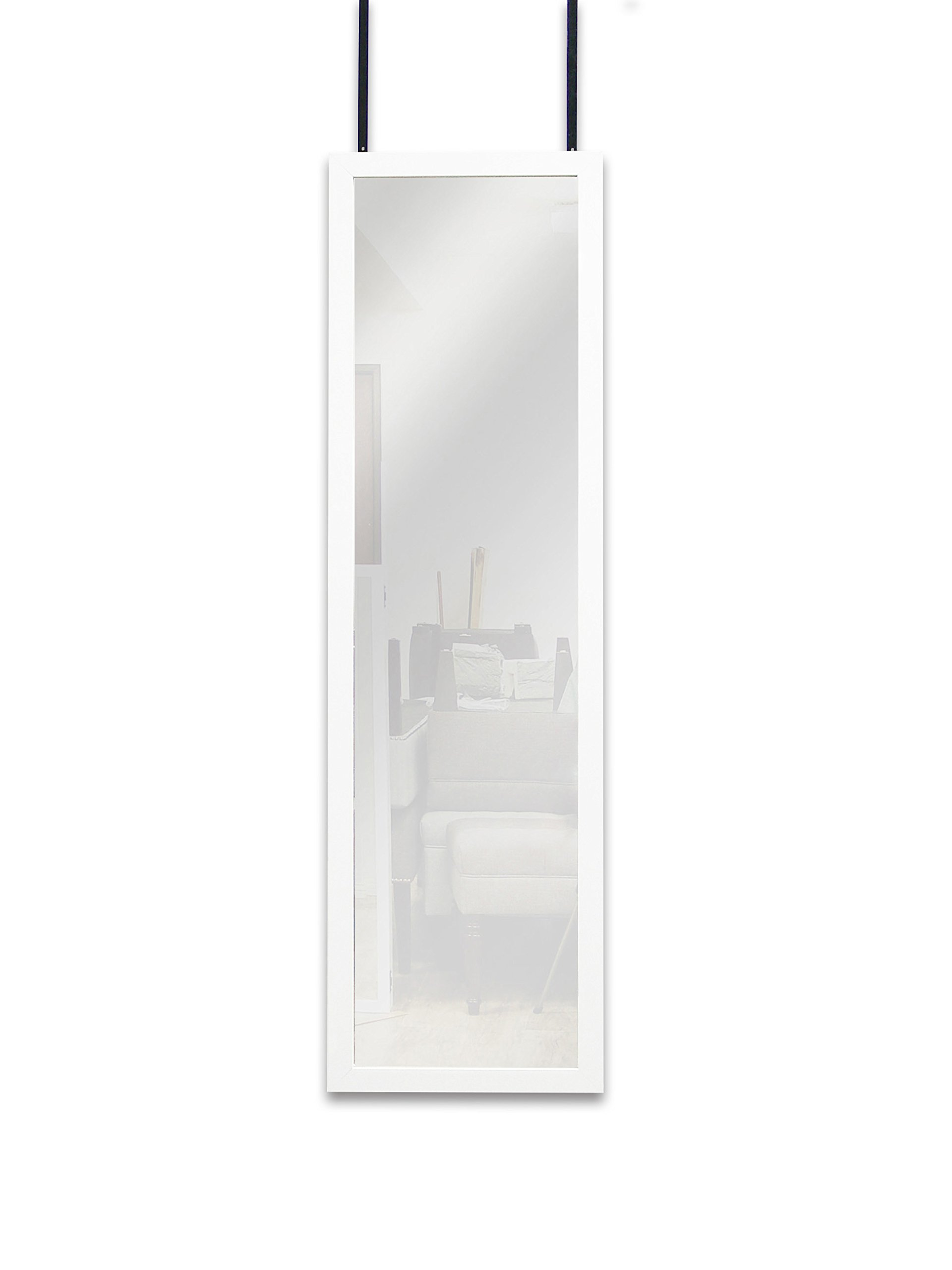 Mirrotek Door Mirror Hanging, 14 x 42, White