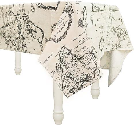 Manteles Mapa del mundo mesa rectangular antimanchas decoracion ...