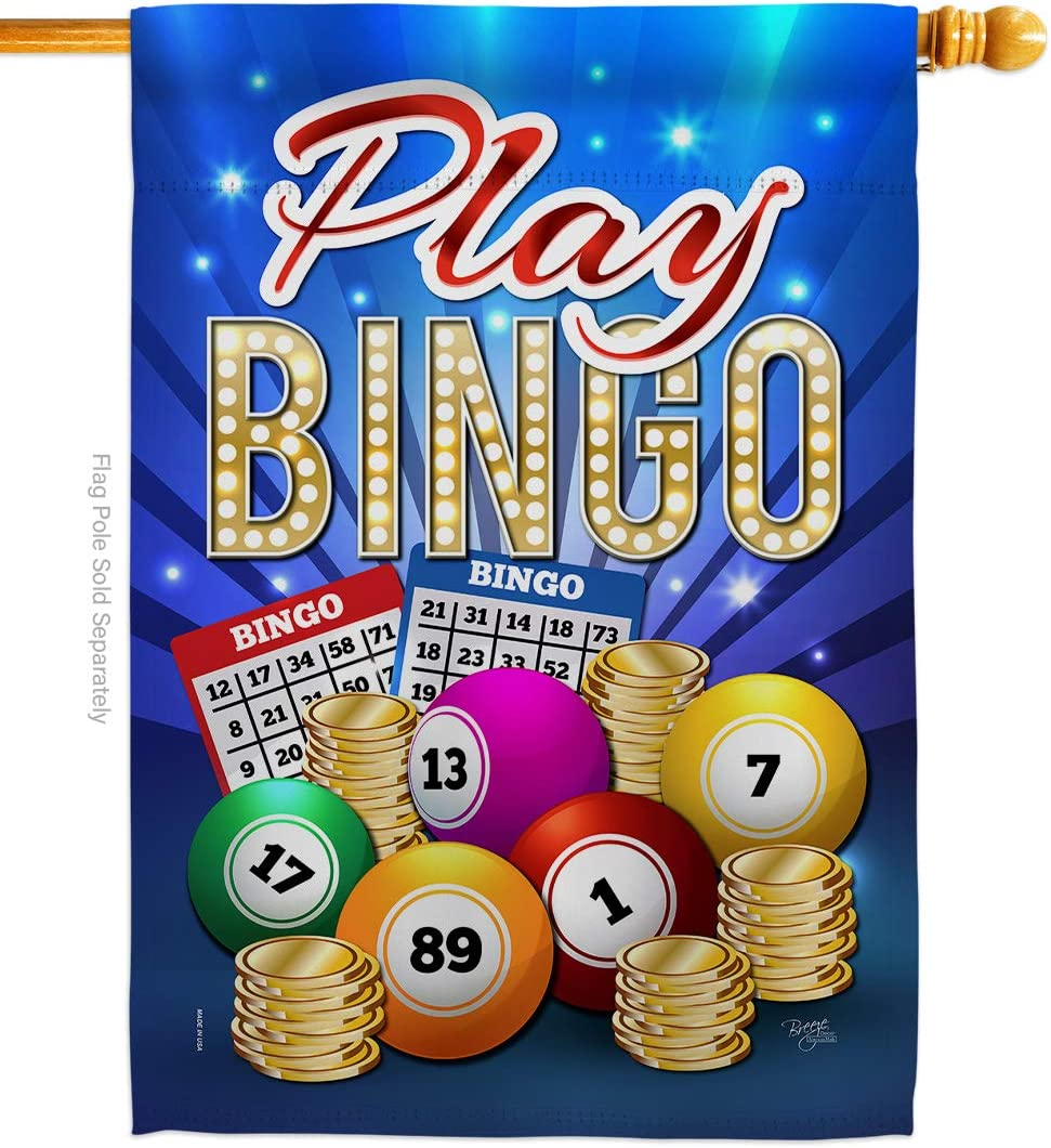 Breeze Decor Games Play Bingo House Flag Interests Bunco Night Dice Poker Hobbies Leisure Activity Small Decorative Gift Yard Banner Made in USA 28 X 40