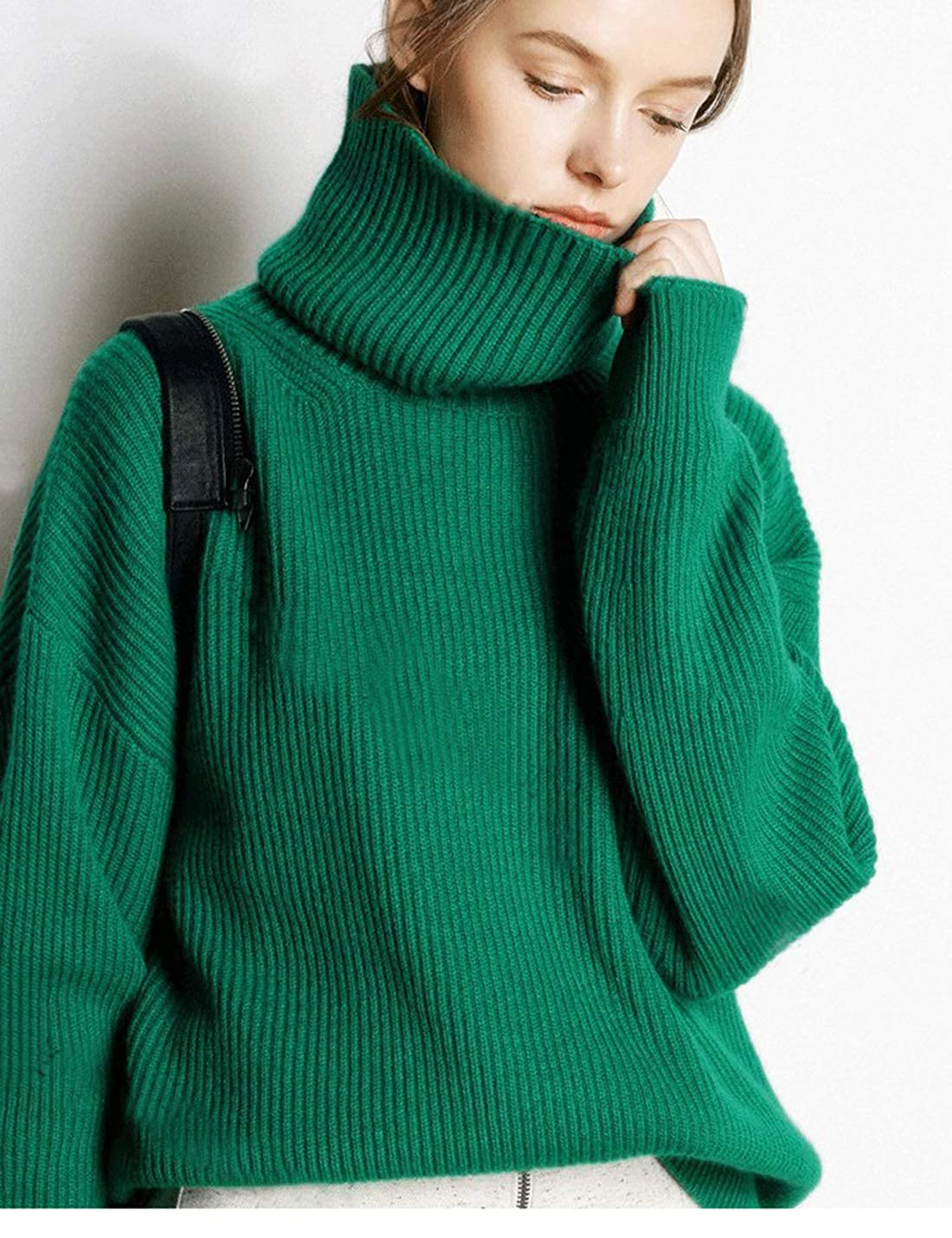 Yeokou Womens Casual Turtle Neck Cashmere Wool Knitted Pullovers Sweater