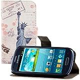 kwmobile Wallet Case Kunstlederhülle für Samsung Galaxy S3 Mini - Cover Flip Tasche in Freiheitsstatue Post Design mit Kartenfach und Ständerfunktion in Blau Weiß