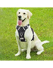 WINSEE Dog Harness, No-Pull Walking Pet Vest Harness with Handle and Front/Back Leash Attachments, Reflective Adjustable Oxford Material Easy Control Harness Black for Medium Large Dog