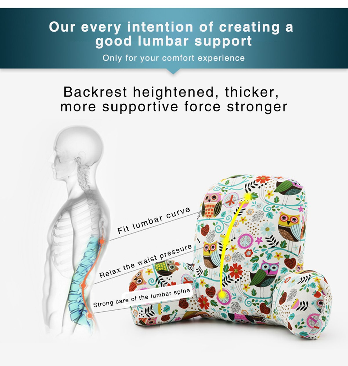 Memory Shredded Foam Pad Pregnant Women -Lumbar Soft Plush Couch Support Bed Rests with Arms Owl Song Wwang Bedrest Reading and TV Pillow with Arm Rests Lower Back