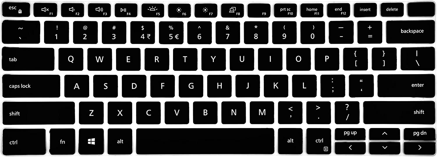 Leze - Ultra Thin Clear Keyboard Cover Compatible with 13.3'' New 2019 Dell XPS 13 7390 2-in-1 Laptop - Black