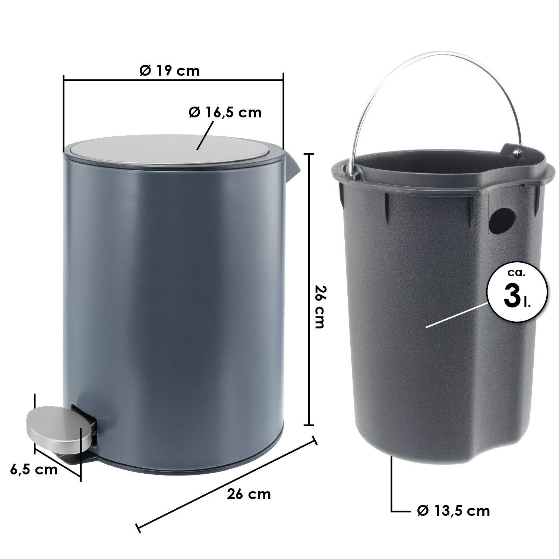 K/örper bremermann Kosmetikeimer 3 Liter Softclose-Deckel Deckel Edelstahl mit Anti-Fingerabdruck