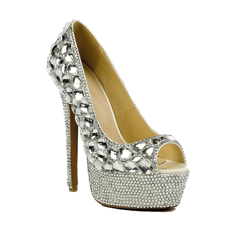 Lacitena Zapatos Elegantes de Punta de pie de Mujer Rhinestone 36 EU
