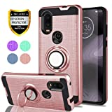 YmhxcY Case for Motorola One Vision Phone,Moto One Vision,Motorola P40 Case with HD Screen Protector,360 Degree Rotating Ring & Bracket Dual Layer Shock Bumper Cover for Motorola P40-ZH Rose Gold (Color: ZH-Rose Gold)