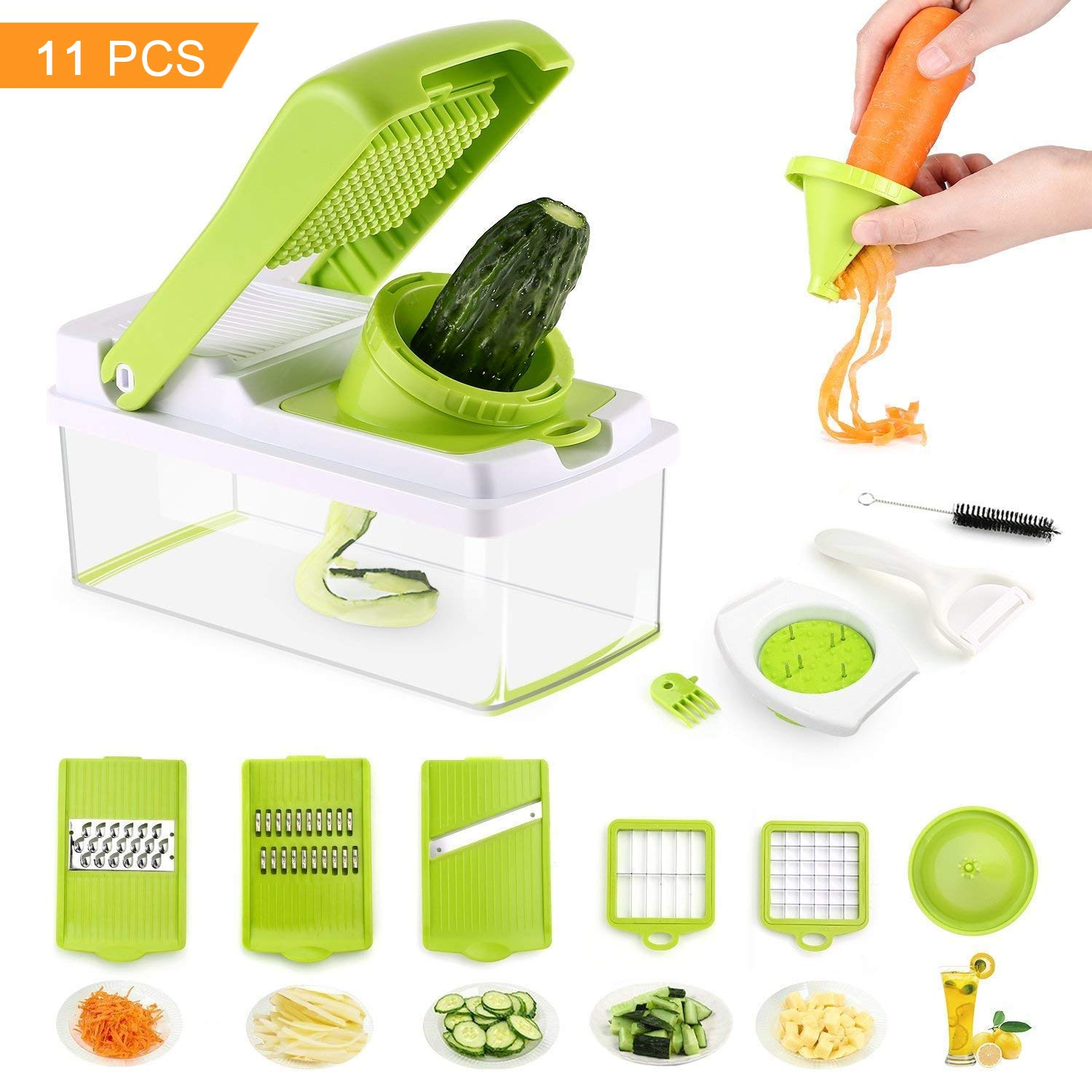 Mandoline Slicer Include Spiralizer Vegetable Slicer Cutter Dicer Julienne Peeler Cleaning Tool Duty Multi Vegetable-Fruit-Cheese-Onion Chopper-Lemon Squeezer-Food Choppers and Dicers Preup