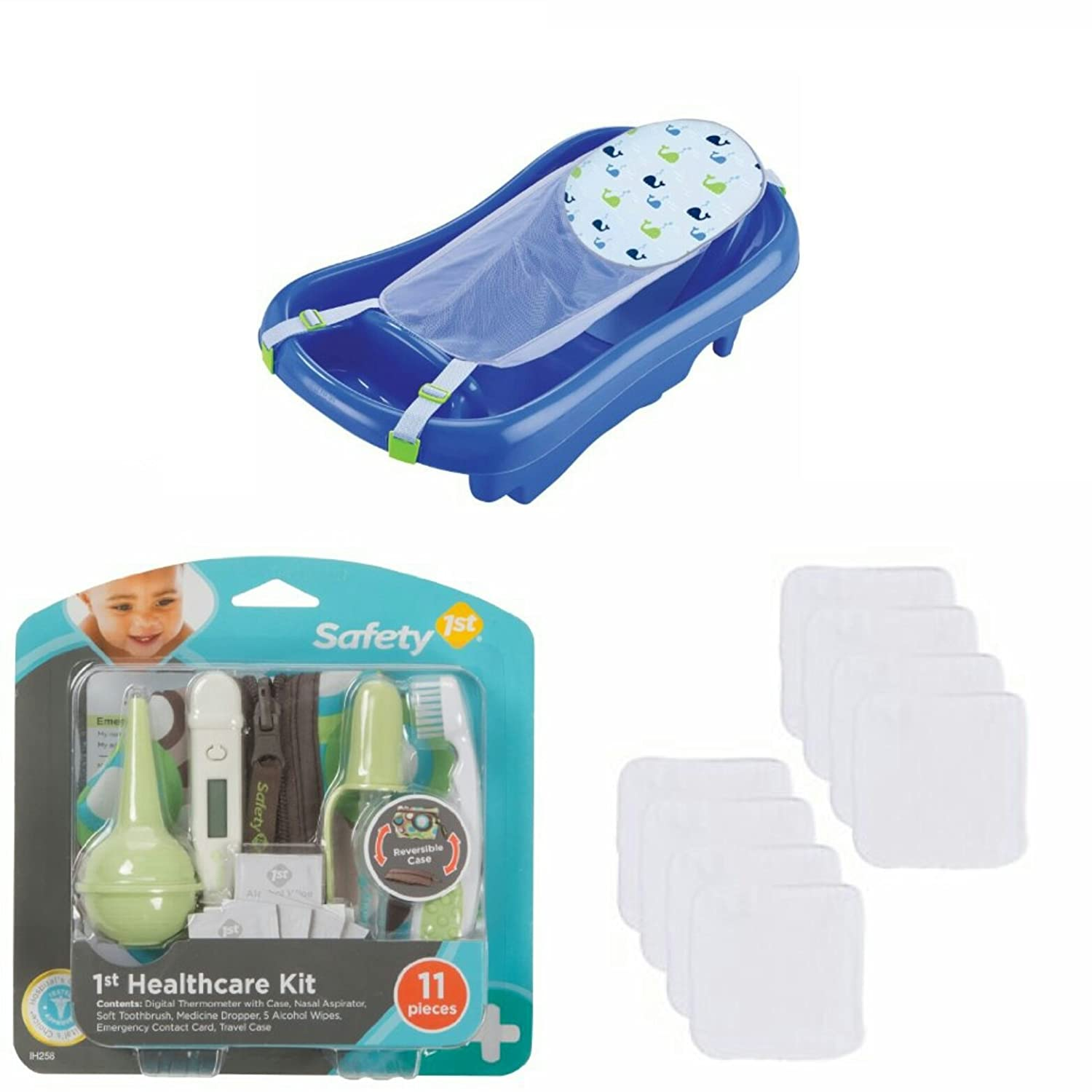 The First Years Deluxe Newborn to Toddler Tub -3 piece Bathtime Bundle with Safety 1st grooming kit and 12 washcloths Y3155
