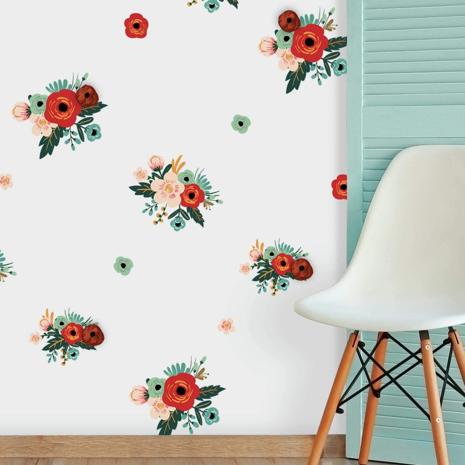 RoomMates Mini Floral Peel And Stick Wall Decals with 3D Embellishments