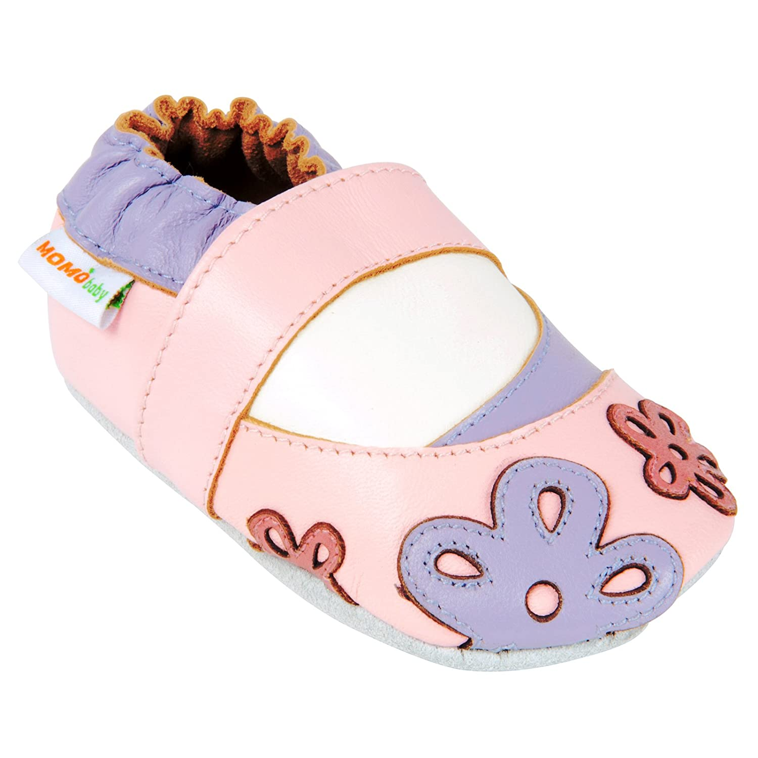 Momo Baby Girls Soft Sole Leather Shoes Scattered Daisy 4B1-331083-PNK-12M