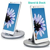 Daite Micro Port Charge & Sync Dock Station for Android Devices & Anti-slip Phone Stand Holder Cradle (Silver)