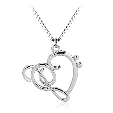 Silver treble clef bass clef heart necklace music note pendant silver treble clef bass clef heart necklace music note pendant necklace by zaasy aloadofball Choice Image
