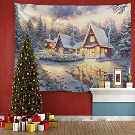 Printed in the USA Window Tapestry Wall Hanging Snow Cabin Wood Winter Tapestries Dorm Room Bedroom Decor Art Small to Giant Sizes