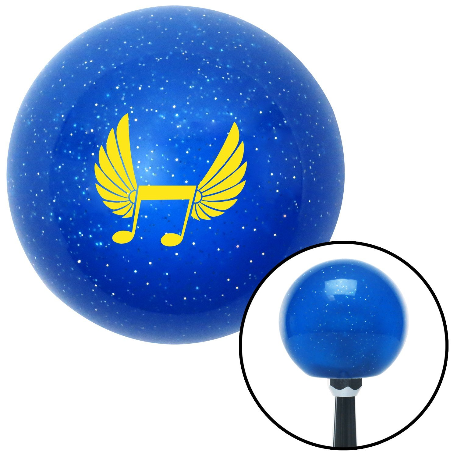 American Shifter 24635 Blue Metal Flake Shift Knob Yellow Musical Note w//Wings