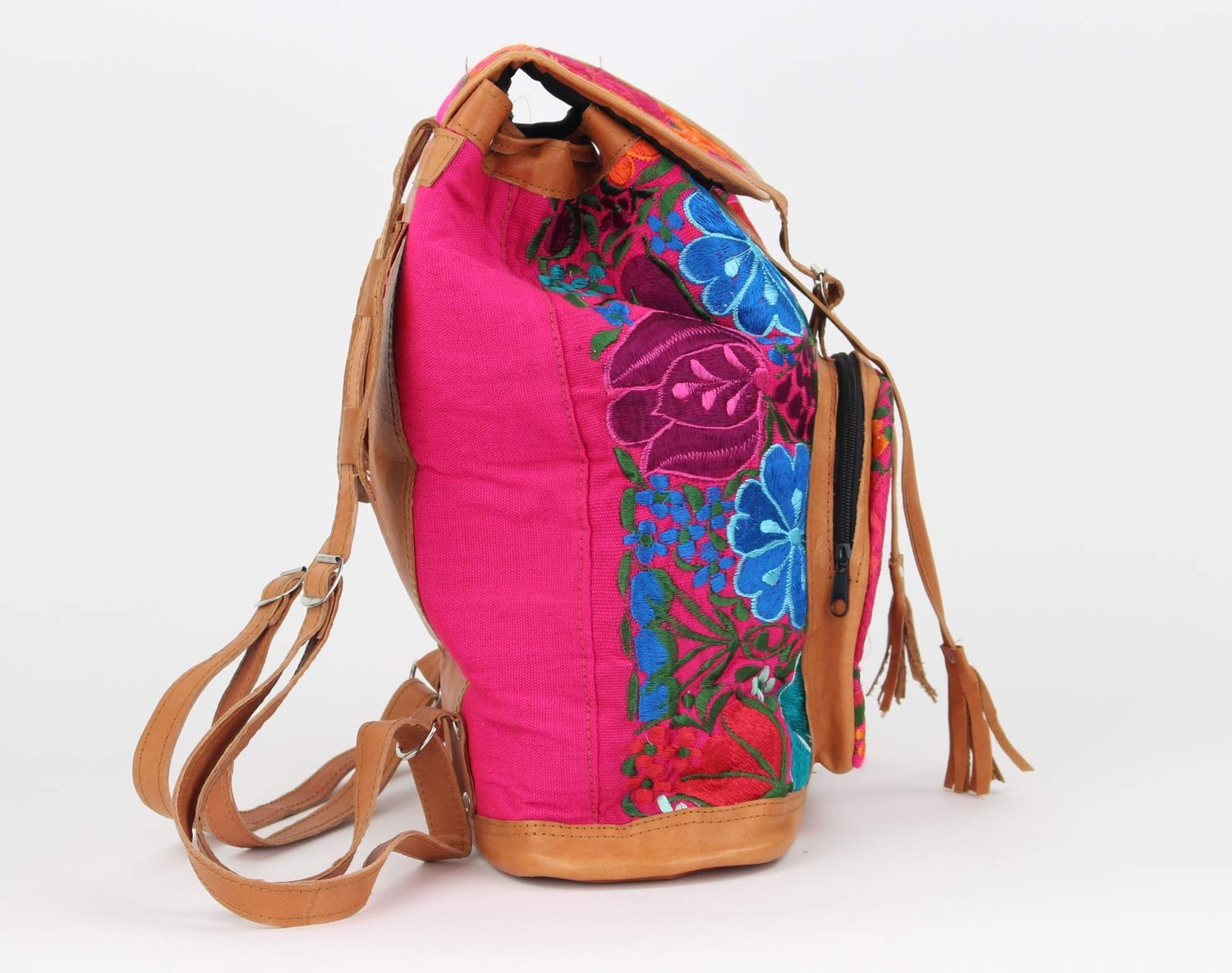 Amazon.com: Boho Backpack - Mexican Leather Embroidered Backpack - Hippie Backpack - Mochilas de mujer de moda - Pink: Handmade