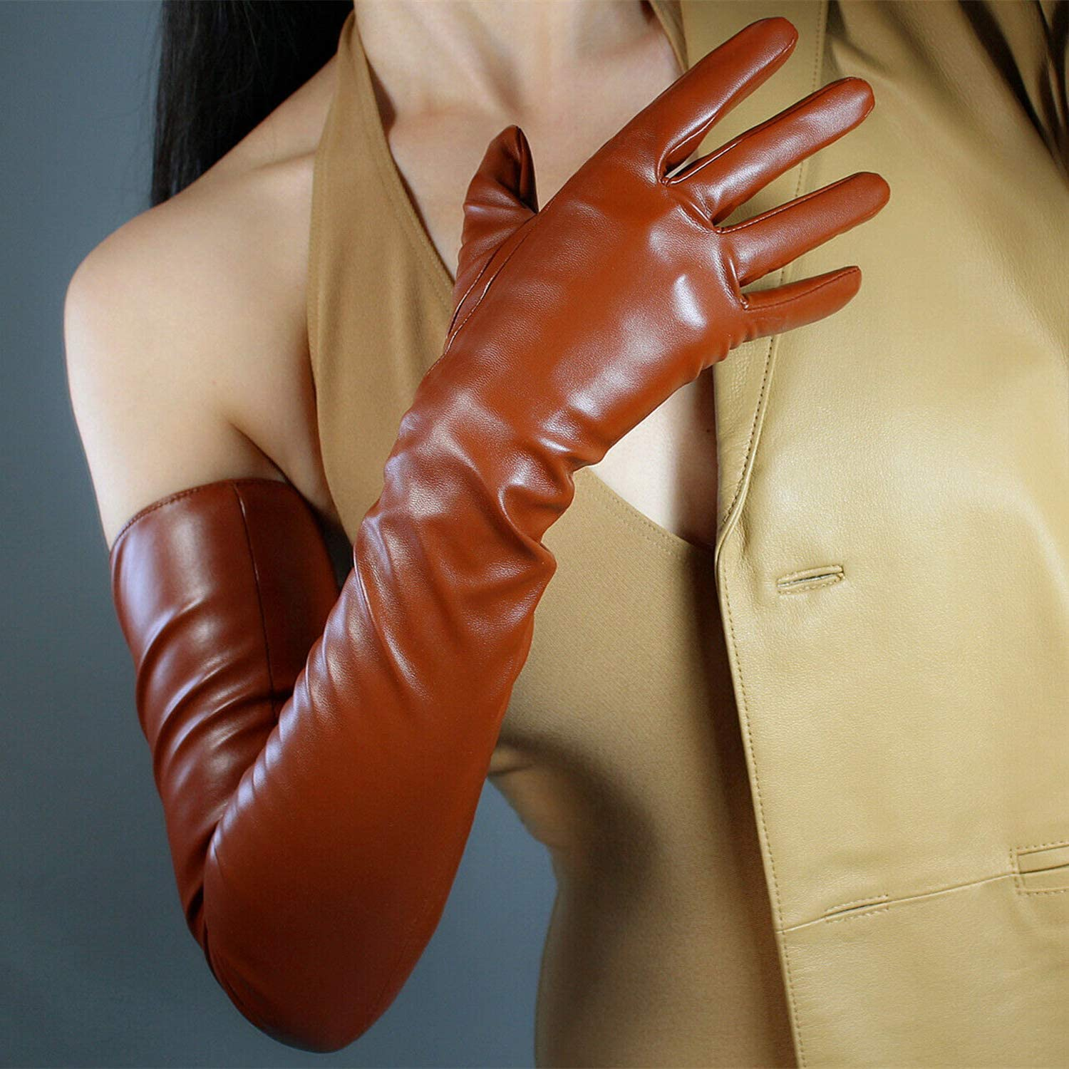 DooWay EXTRA LONG GLOVES Faux Leather PU Stretchy 28-inch Brown for Halloween Evening Dress Party Finger Gloves