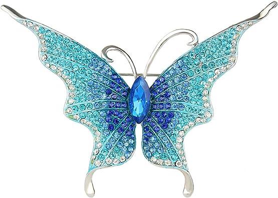 EVER FAITH Spilla Gioiello Cristallo Austriaco Elegante Farfalla Insetto Animale Spilla