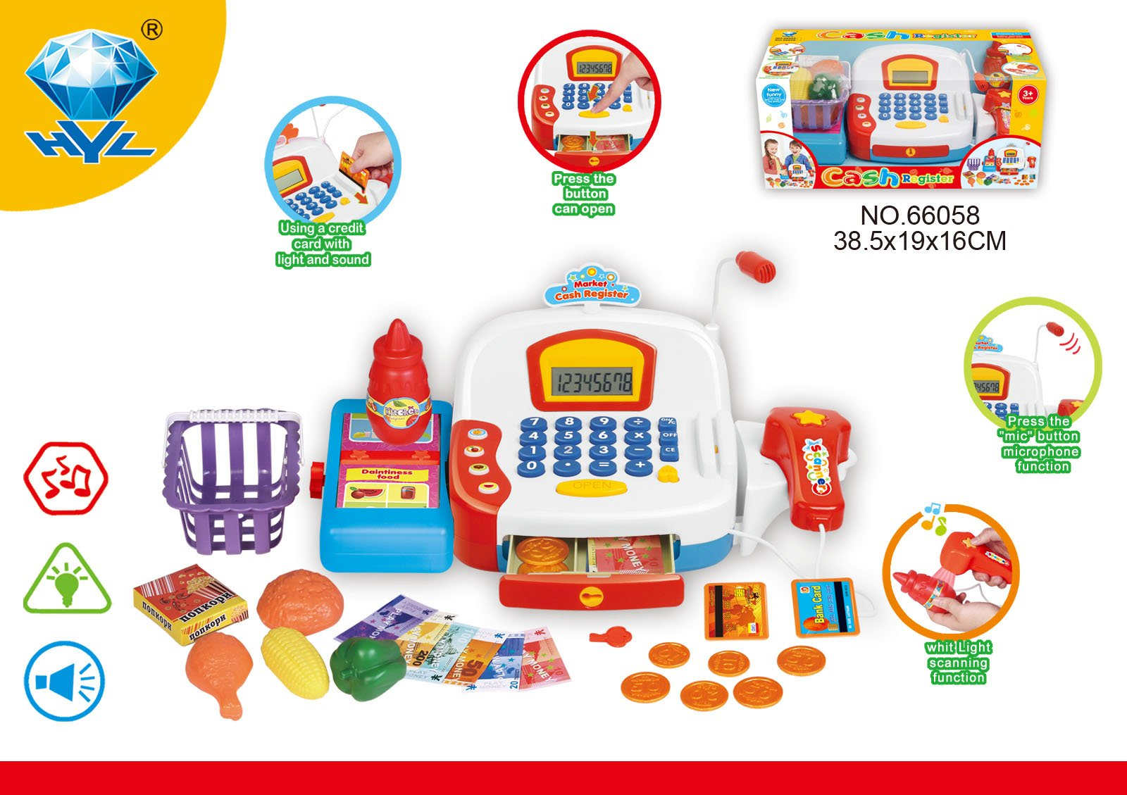 Electronic Toy Cash Register With Realistic Actions And A Variety Of Attractive Accessories Standard Full Package Electronic Cash Register Produces Realistic Sound With Screen LED Display Screen.
