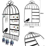 Aution House-Class-Organizer per gioielli, con ganci, da appendere a parete a forma di gabbia per uccellini con supporto per orecchini, gioielleria, collana con supporto per Display nero …