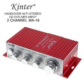 ePathChina® rojo MA-180 Mini USB coche barco Auto Amplificador de potencia 2 ch Audio estéreo HiFi AMP 12 V: Amazon.es: Electrónica