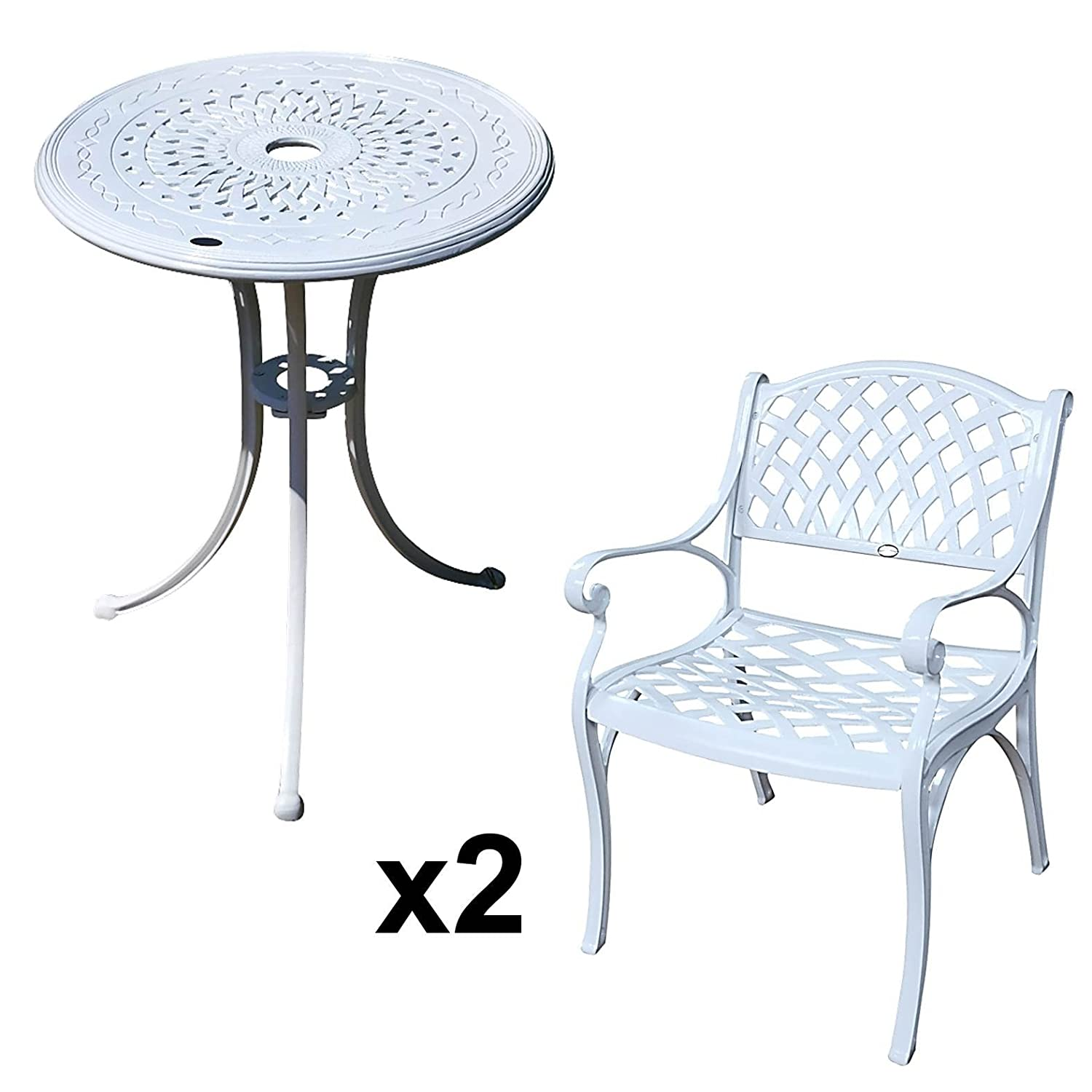 lazy susan ella 60 cm bistrotisch mit 2 st hlen rundes gartenm bel set aus metall wei. Black Bedroom Furniture Sets. Home Design Ideas
